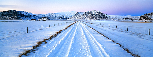 Road and mountains near Vik in winter, Iceland, Polar Regions