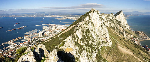 Looking north from O'Hara's Battery along the crest of the Rock, Gibraltar, Europe