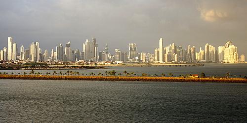 Panama City skyline at dusk, Panama, Central America