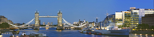 Panorama with Tower Bridge and HMS Belfast, London, England, United Kingdom, Europe