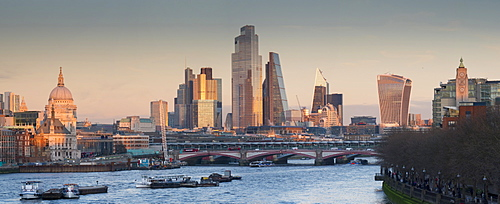 City of London, Square Mile, panorama shows completed 22 Bishopsgate tower, London, England, United Kingdom, Europe