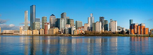 Canary Wharf cityscape panorama, Docklands, London, England, United Kingdom, Europe