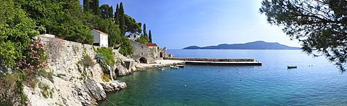 Panorama of rocky coast and harbour, Trsteno, Dubrovnik, Croatia, Europe