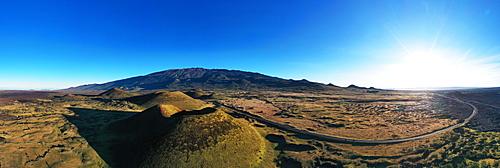 Aerial view of volcanic landscape and Mauna Kea, 4207m, Big Island, Hawaii, United States of America, North America