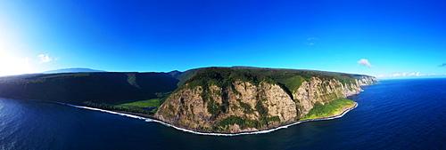 Aerial view of north shore, Waipio valley, Big Island, Hawaii, United States of America, North America