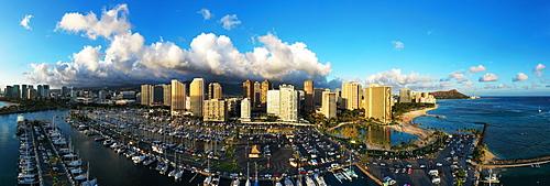 Aerial view by drone of Waikiki, Honolulu, Oahu Island, Hawaii, United States of America, North America