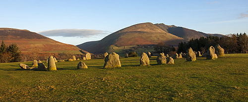 Saddleback (Blencathra), from Castlerigg Stone Circle, Lake District National Park, Cumbria, England, United Kingdom, Europe