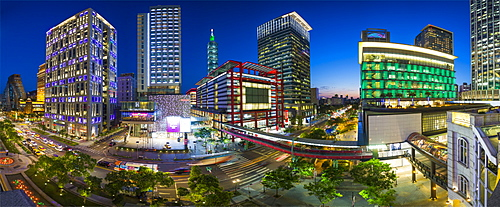 Xinyi downtown district, the prime shopping and financial district of Taipei, Taiwan, Asia