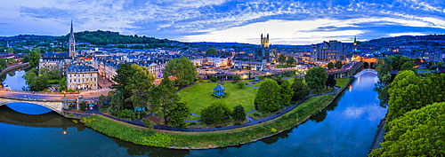 View by drone of Bath city center and River Avon, Somerset, England, United Kingdom, Euruope