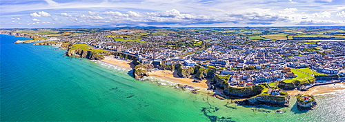 Aerial view over the sandy beaches of Newquay, Cornwall, England, United Kingdom, Europe