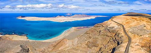 Isla Graciosa viewed from Mirador del Rio, Lanzarote, Canary Islands, Spain, Atlantic, Europe