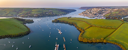 Aerial panorama by drone of Kingsbridge Estuary and Salcombe, South Hams, Devon, England, United Kingdom, Europe