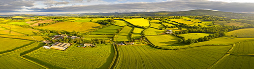 Aerial view by drone of beautiful rolling countryside near Livaton, Devon, England, United Kingdom, Europe