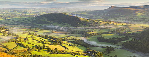 Beautiful rolling countryside in the Usk Valley, Brecon Beacons National Park, Powys, Wales, United Kingdom, Europe