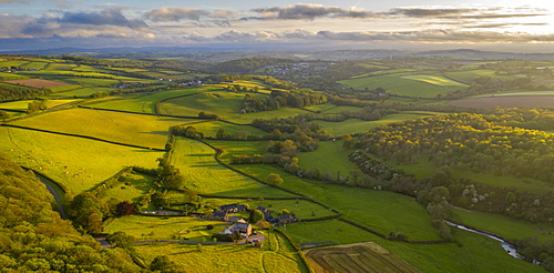 Aerial view by drone of rolling countryside near Lifton, Devon, England, United Kingdom, Europe