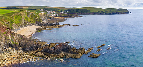 Aerial panoramic vista of Hope Cove in the South Hams, , United Kingdom, Europe. Summer (June) 2020.