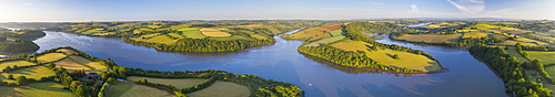 Early morning aerial panoramic of the River Dart estuary, Stoke Gabriel, South Hams, Devon, England, United Kingdom, Europe