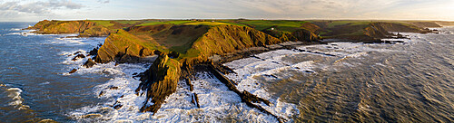 Aerial panoramic of dramatic coastline near Hartland Point on the North Devon coast, Devon, England. Winter (December) 2020.
