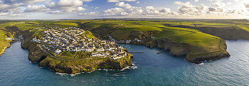 Aerial view of Port Isaac and surrounding coastline, North Cornwall, England. Spring (April) 2021.