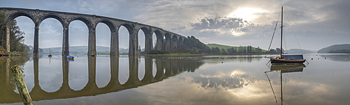 Brunel???s St German???s Viaduct at dawn, St German???s, Cornwall, England. Spring (March) 2021.