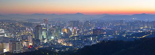 View of Seoul at dawn, Seoul, South Korea, Asia