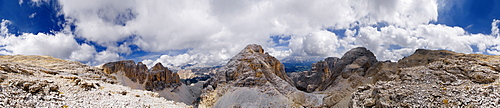 360° panoramic view of the Sella massif from the Pisciadu Spiz or Piza di Pisciadu peak, province of Bolzano-Bozen, Italy, Europe