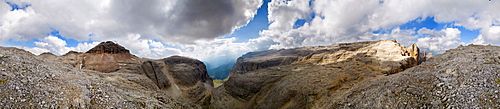 360° panoramic view with Piz Boe peak near the Bamberger Huette hut and bizarre cloud formations on the Sella massif, Passo Sella, province of Bolzano-Bozen, Italy, Europe