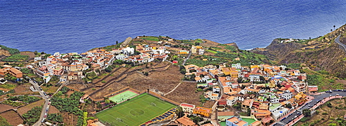 The small pristine coastal village of Agulo, La Gomera, Canary Islands, Spain, Europe