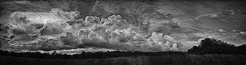 Panoramic view, 360, clouds in the rainy season, black and white, Corozal District, Belize, Central America