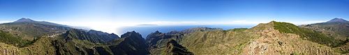 360 degree panorama of volcano Pico Verde, Masca Gorge, Teno mountains, volcano Pico del Teide, Tenerife, Canary Islands, Spain, Europe