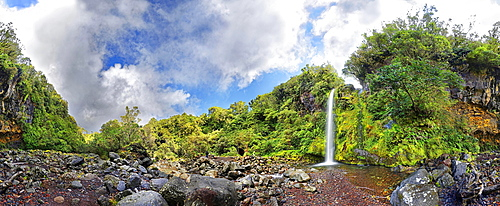 360 panoramic view of the Dawson Falls waterfall in the middle of a tropical rainforest, Dawson Falls, Mount Taranaki or Mount Egmont, Whanganui National Park, North Island, New Zealand, Oceania