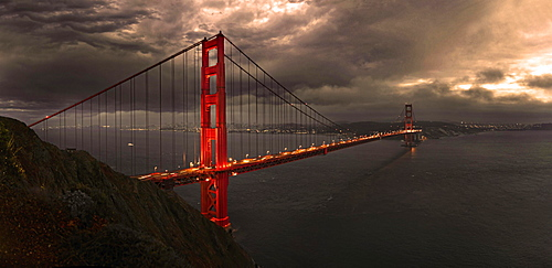 Golden Gate Bridge with storm clouds, San Francisco, California, United States, North America