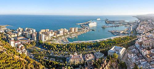 Cityview with harbour, drone shot, Malaga, Andalusia, Spain, Europe