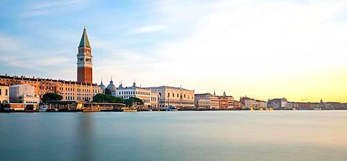 St Mark's Campanile and Piazza San Marco at sunrise, Canal Grande, morning mood, Venice, Veneto, Italy, Europe