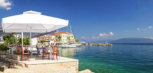 Restaurant by the sea, Valun, Cres Island, Kvarner Gulf Bay, Croatia, Europe