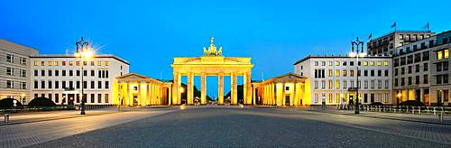 Pariser Platz with illuminated Brandenburg Gate at dawn, Berlin, Germany, Europe