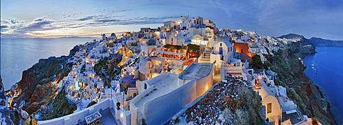 Panorama, evening mood, Oia, Santorini, Greece, Europe
