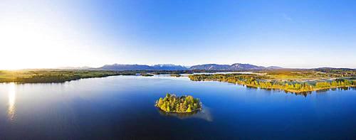 Sunrise at Lake Staffelsee with Muehlwoerth Island, aerial view, Alpine foothills, Upper Bavaria, Bavaria, Germany, Europe