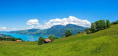 Landscape with Lake Thun, Aeschi near Spiez, Bernese Oberland, Switzerland, Europe