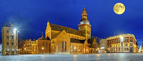 Riga Cathedral at night with full moon, Riga, Latvia, Europe