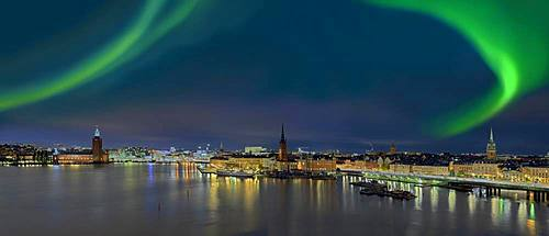 Northern lights, panorama over Stockholm, Sweden, Europe