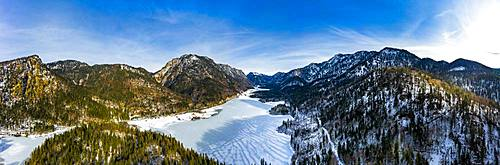 Aerial view of the snow-covered Weitsee and Loedensee, Reit im Winkl, Chiemgau, Bavaria, Germany, Europe