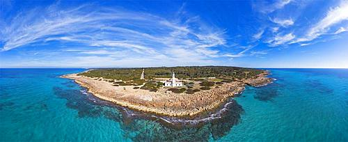Panorama, Lighthouse at Cap de ses Salines, southernmost point of Majorca, Migjorn region, Mediterranean Sea, aerial view, Majorca, Balearic Islands, Spain, Europe