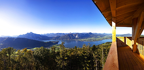 View from the observation tower Kulmspitze into Mondseeland and Schafberg, Mondsee, Salzkammergut, Upper Austria, Austria, Europe
