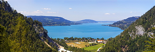 Panoramic view of Weissenbach am Attersee and Steinbach am Attersee, Attersee, Salzkammergut, Upper Austria, Austria, Europe