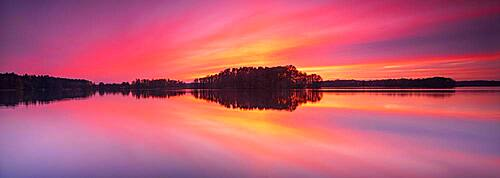 Sunset at the Great Lychen Lake, Lychen, Brandenburg, Germany, Europe