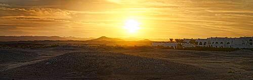 Desert with Hilton Nubian Resort at sunset, Al Qusair, Marsa Alam, Egypt, Africa