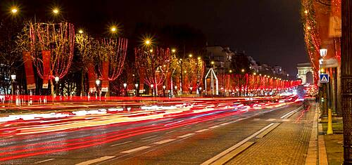 Night shot of the Christmas illumination of the Avenue des Champs-Elysees, Paris, France, Europe