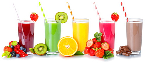 Drinks fruit juice collection drink fruits juice in a glass exempted isolated against a white background