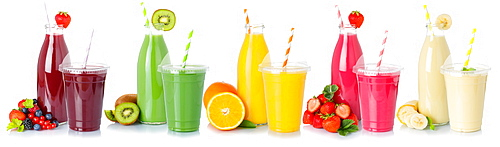 Various drinks smoothie smoothies juices fruit juice drink juice cropped cropped isolated against a white background